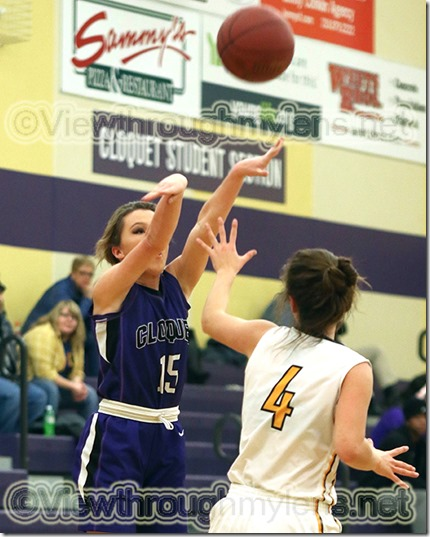 Cloquet's Kendra Kelley shoots one of 6 made three-pointers in the game vs. Northwestern