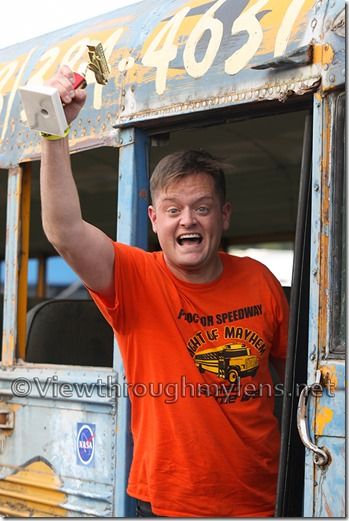Fox 21's Dan Hanger won the celebrity bus race Saturday night at Proctor Speedway.